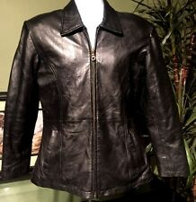 Men's Designer Classic Moto Slim Fit Black Goatskin Leather Jacket  SZ M