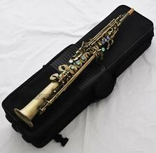 Professional Antique Neck Built-in Soprano Saxophone Straight Sax High F# G Keys
