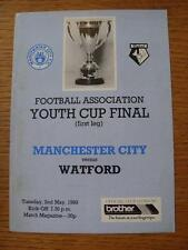 02/05/1989 FA Youth Cup Final: Manchester City Youth v Watford Youth  (4 Pages,