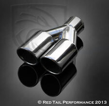 """RTP Exhaust Muffler Tip Dual 3"""" OD Outlet Round Angled Rolled 2.25"""" Inlet ID"""