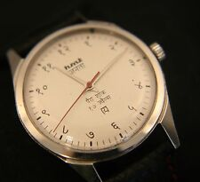 Men's restored vintage Hindi hand HMT silver dial manual wind wristwatch