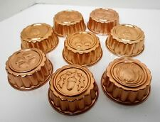 COPPER COLORED VINTAGE SMALL MINI JELLO TART PASTRY JELLY MOLDS COLLECTION 8 LOT