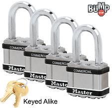 """Master Lock 2""""W MAGNUM Padlock,1-1/8""""L Shackle (4)Keyed Alike Locks M5NKASTSLF-4"""