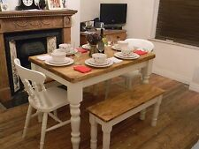 Shabby Chic farmhouse pine table 2 fiddle back chairs and 2 benches