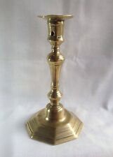Antique Early 18thC Seamed Brass Candlestick Knopped Stem Octagonal Base