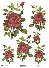 Rice Paper for Decoupage Scrapbooking, Beautiful Red Roses ITD R170