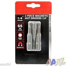 "3 Pc Magnetic 1/4 or 3/8"" Hex Socket Driver Bit 1/4"" Shank"