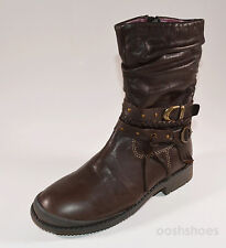 Noel Girls Lana Brown Leather Zip Boots UK 12.5 EU 31 US 13
