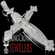 White Gold Over Sterling Silver Lab Diamond Jesus Crucifix Cross Pendant Charm