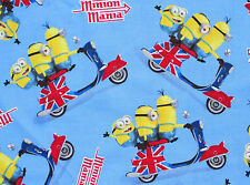 DESPICABLE ME  MINIONS  MINION  BRITISH FLAG SCOOTER  100% COTTON FABRIC YARDAGE