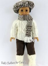 """Fisherman's Sweater Hat Scarf Pants & Boots fit 18"""" American Girl Dolls"""