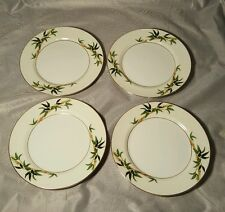 Lot of 4 Kent Bali Hai Bamboo Green Gold China Round Bread Butter Plate 6 5/8""
