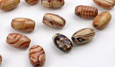 100 OVAL WOOD BEADS ASSORTED PATTERNS 12MM