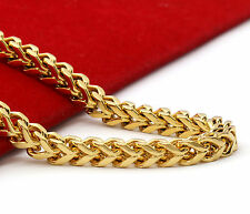 """14k Gold Plated Stainless Steel Heavy Thick HipHop 5mm 30"""" Franco Chain Necklace"""