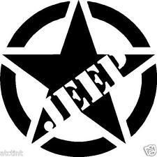 Large JEEP Military Star Custom Window Decal Sticker Wrangler tj jk cj yj xj wj