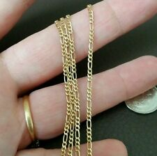 YELLOW GOLD PLATED ITALIAN 925 STERLING SILVER FIGARO CHAIN 24 INCH 4.01 GRAM