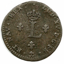 1738-& Vlack-231 R-8 French Colonie Sou Marque. Aix Mint Colonial Copper Coin