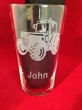 Engraved Pint Glass With Tractor Design - Personalised - New