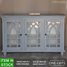 French style arched solid hardwood grey large glass door sideboard buffet hutch