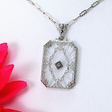 Vintage Sterling Silver Art Deco Camphor Glass Crystal Pendant with chain