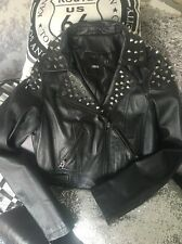 ASOS Genuine Black Leather Stud Biker Jacket 10
