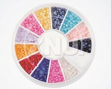 12x Colors Nail Art 2.0mm Half Round Pearls Rhinestone Beads Decoration DIY Kit