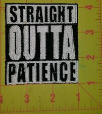 Straight outta patience motorcycle biker vest patch iron on custom made