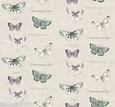 """2.2m/86"""" BUTTERFLY VINTAGE oilcloth wipe clean pvc cotton fabric TABLECLOTH CO"""