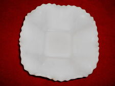 Milk Glass Vintage Candy Dish Diamond Point Ruffled Top Square White Vintage