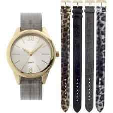 Quartz Round Goldtone 5 pc Leopard Print Interchangeable Strap Womens Watch Set