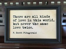 F Scott Fitzgerald Never The Same Love Twice QUOTE Wall Decor Framed Wall Plaque