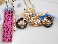 Betsey Johnson Cute fashion inlay Crystal motorcycle Pendant Necklace #F267B