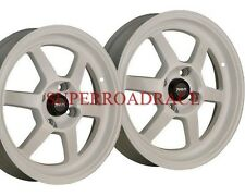 TRAKLITE LAUNCH DRAG REAR SKINNIES WHEELS PAIR WHITE 15X3.5 4X100 +10