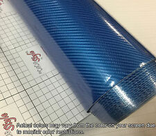 6D BLUE Gloss Shining 1520mm x 300mm Carbon Fibre Vinyl Wrap Sticker 5D Upgraded