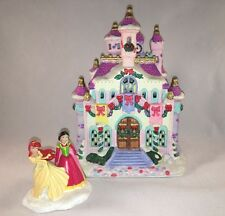 Disney Princess Castle Christmas Snow Village LightUp Brass Key Belle Cinderella