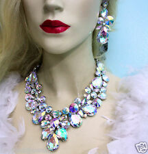 AB Drag Queen V-Shape Rhinestone Crystal Choker Necklace Earring Pageant