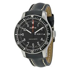 Fortis Official Cosmonauts Automatic Black Dial Black Leather Mens Mens Watch