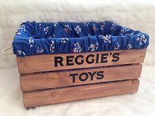 Personalised, Rustic Wooden Vintage Toy Box Storage Crate FREE P+P Pirates Theme