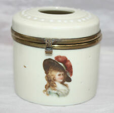 Antique China String Dispenser Brass Rim Hinged Lid Transfer Print Lady Hamilton