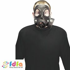WW2 BLACK RUBBER GAS MASK BOOK WEEK - mens ladies boys girls childs fancy dress
