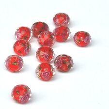 5 Perles Rouges Rondes Rondelles à facettes Fleuries Sable d'Or 10mm x 7mm
