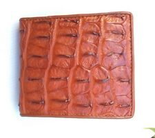 100% Genuine crocodile alligator tail skin leather bifold men tan brown wallet