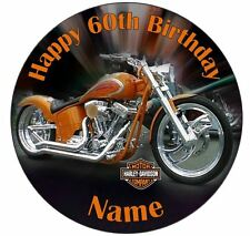 Harley Davidson Edible Icing Cake Topper- Round 7.5in PreCut +12 Cupcake Toppers