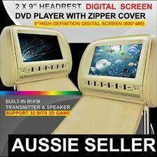 """2 x 9"""" inch HD Headrest Car DVD Player Rear Monitor Pillow For Mercedes-Benz"""