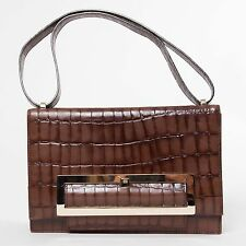 ESCADA Brown Croc Effect Leather Shoulder Bag Adjustable Strap