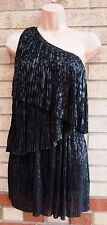 TOPSHOP ONE SHOULDER FLARE TIERED RUFFLE LEOPARD BLACK PARTY FRILLY DRESS 10 S