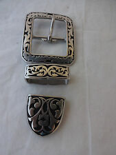 Jeremiah Watt 3 Piece Gun Belt Floral Clip Corner Buckle Keeper Loop Tip 1 1/2""