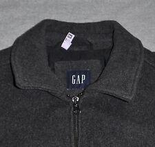 GAP Jacket Men's MEDIUM M Gray Wool Blend Full Zip Pockets Quilted Lining Fall