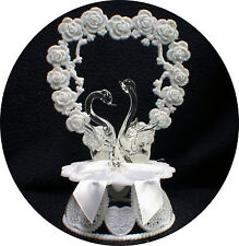 Crystal Swans Wedding Cake Topper Romantic nature top ornament Birds glass