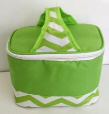 Cooler Lunch Tote Bag LIme Green White 6 pack Mini Chevron Canvas LIghtweight